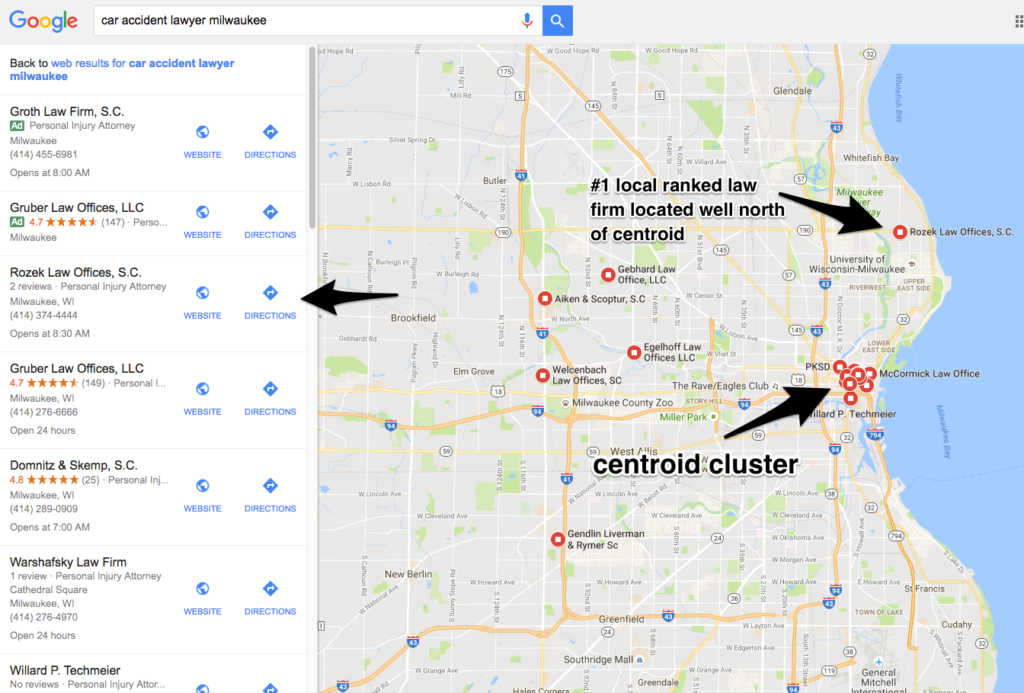 Business ranked #1 in Google Maps located north of centroid